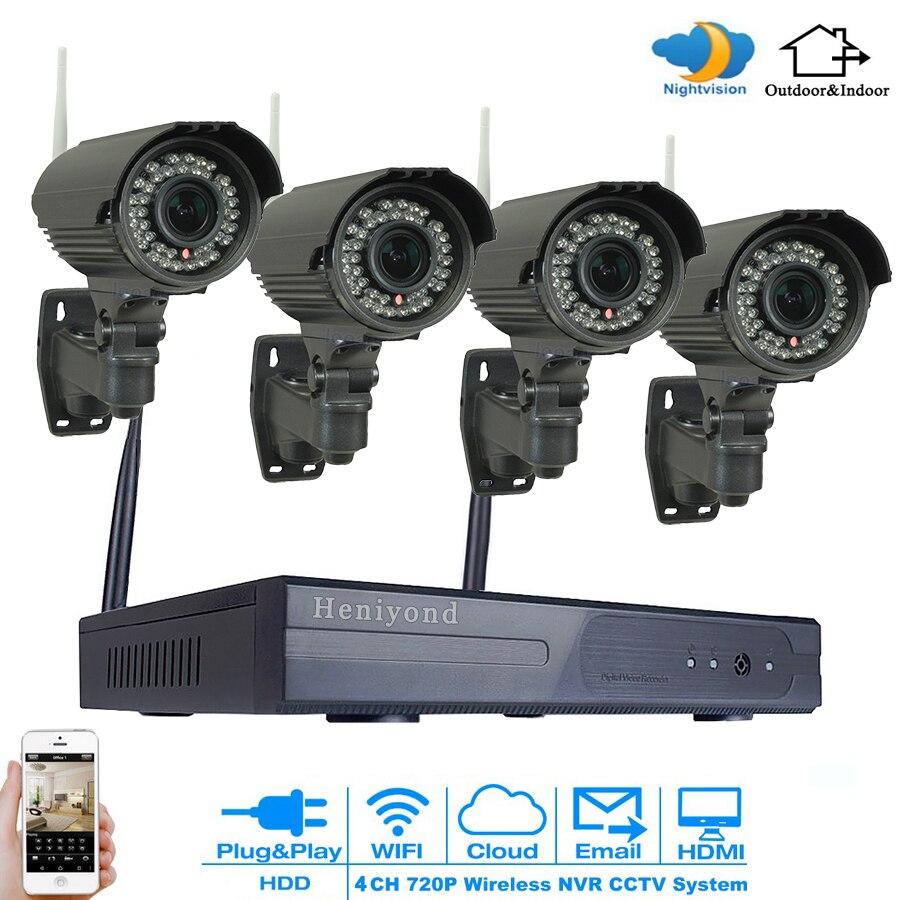 4CH Wifi NVR Surveillance Kit Plug Play P2P 1MP HD 720P 35m Night Vision Waterproof Outdoor Wireless DVR Camera CCTV Set free shipping p2p 720p 1mp hd plug