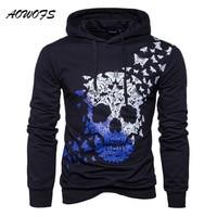 AOWOFS 2017 Autumn Hoodies Men Skulls Print Long Sleeve Black Pullover Hoodie Men Butterfly Pattern Hooded