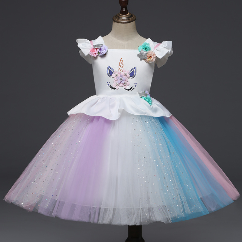 Aven Rabbit girls dress unicorn kids dresses for girls color unicorn princess dress vestidos girls summer dress