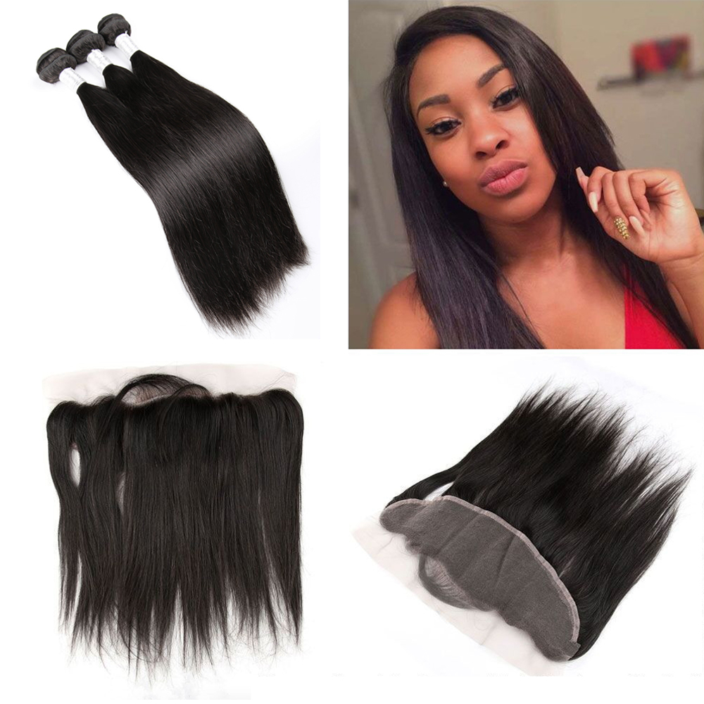 Hot Beauty Hair Straight Pre Plucked Lace Frontal Closure with Bundles 3pcs Peruvian Straight Hair with Pre Plucked Lace Frontal