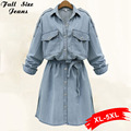 Outono de 2017 plus size denim shirt dress com cordão na cintura t-shirt dress manga longa na altura do joelho-comprimento azul jeans dress 3xl 22 w 4Xl
