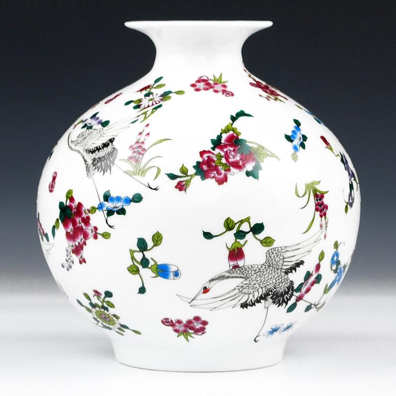 Çiçəklər və quş naxışları olan antik Jingdezhen Parlaq Vase Seramik Masa vazası Farfor Dekorativ Vase