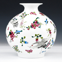 Antique Jingdezhen Luminous Vase With Flowers and Bird Patterns Ceramic Table Vase Porcelain Decorative Vase