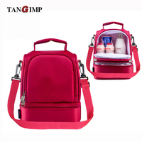 2016 New Insulated Cold Oxford Red Green Stripe Picnic Totes Carry Case Hot Sale Thermal Portable