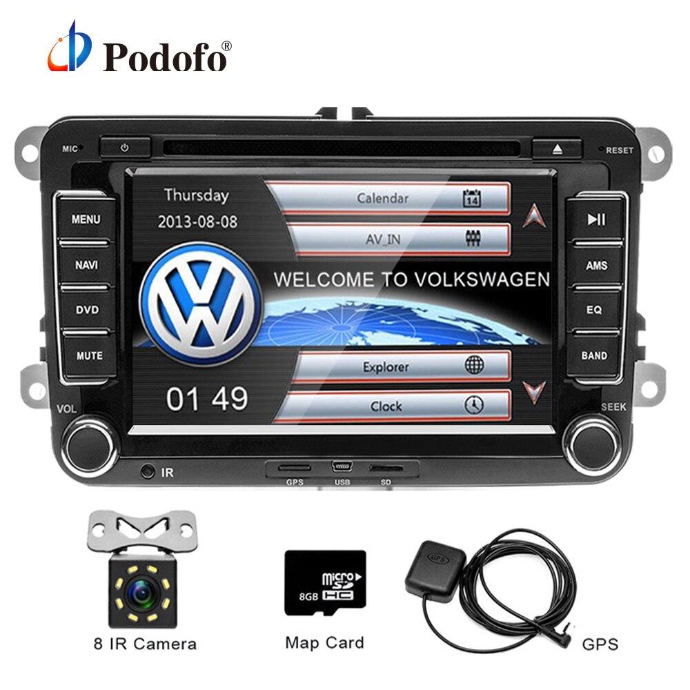 Podofo 2 Din 7 ''Voiture Lecteur DVD GPS Navigation Bluetooth Radio IPOD FM RDS Carte pour VW/Volkswagen /Passat/POLO/GOLF/Skoda/Seat