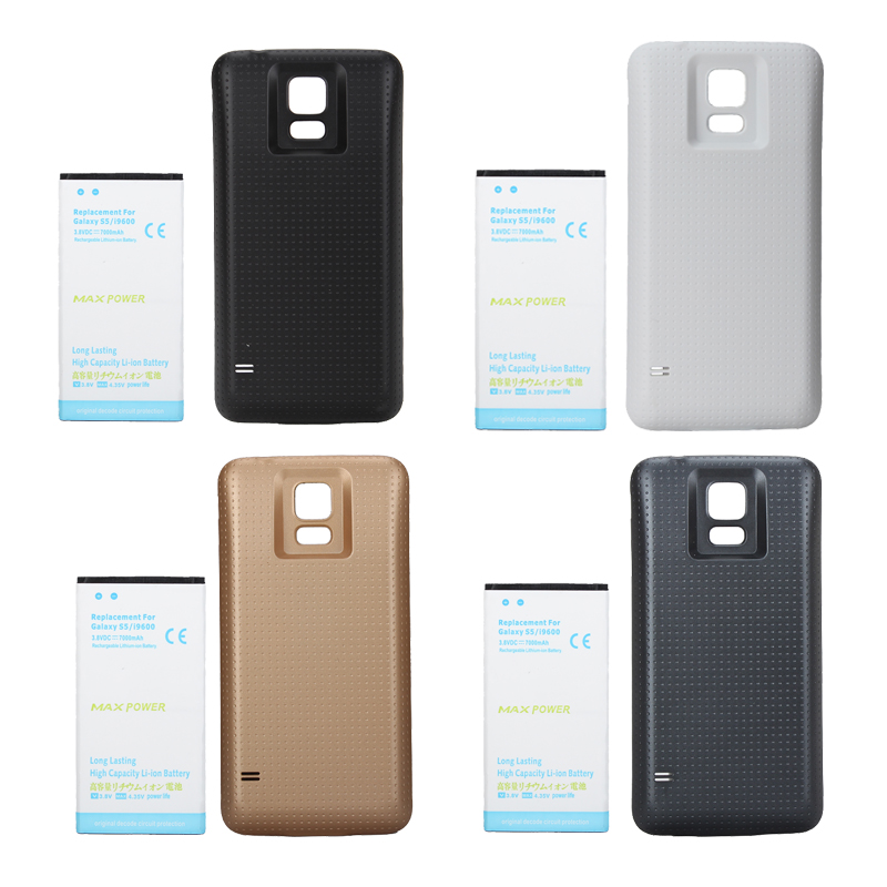 High Capacity 7000mAh Extended Replacement Battery + Back Case Cover For <font><b>Samsung</b></font> Galaxy <font><b>S5</b></font> i9600 G900F g900fd G900S <font><b>Bateria</b></font> image