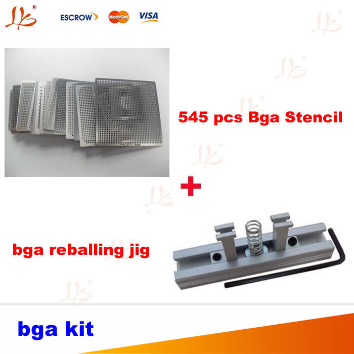 Free shipping Full set direct heat stencils 545 pcs Bga Stencil, with direct heat reballing kit for PS3,XBOX360,Laptop for xbox bga reball reballing stencil heat direct kit with suction pen