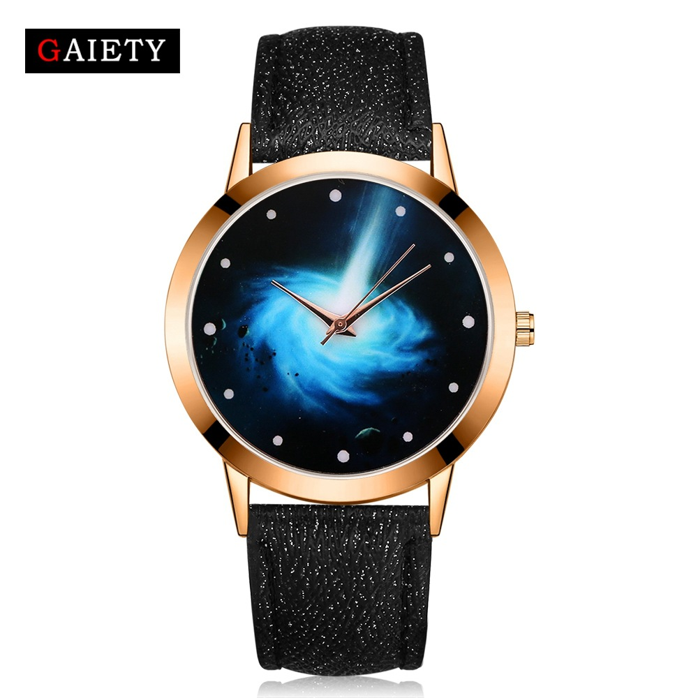 2017 New Fashion Gold watch women galaxy dial casual analog dress crystal bracelet ladies leather quartz watch clock gifts free shipping kezzi women s ladies watch k840 quartz analog ceramic dress wristwatches gifts bracelet casual waterproof relogio
