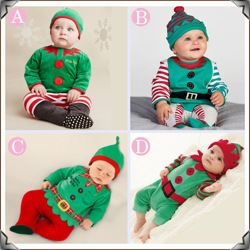 Baby Costume Set 0-2Y Santa Elf Climb Clothes Sets Boys Gilrs Christmas Rompers Overalls Roupas Santa Claus Jumpsuits and hat hooded santa claus costume