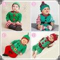 Baby Set Costume 0-2Y Duende de Santa Subida Arropa Sistemas Niños Gilrs Navidad Mamelucos Roupas Mono y sombrero de Santa Claus