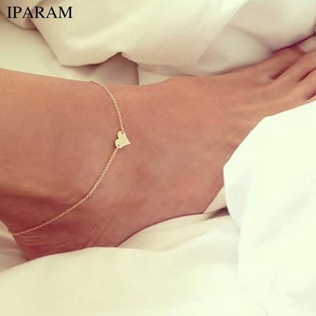 IPARAM 2019 ニューハート型の女性アンクレット素足かぎ針編み靴足レギンス新脚チェーン足首の女性アンクレット