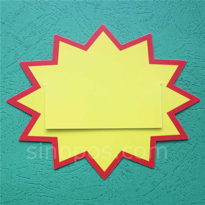 Plastic Burst Sign With Mid Flap, shelf data channel PVC star pricecard split bursts price tag card POP advertising promo ticket