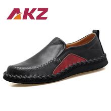 AKZ Spring Summer Man Loafers High Quality Cow Split Leather Men Casual shoes Comfortable Light Soft Male Flats