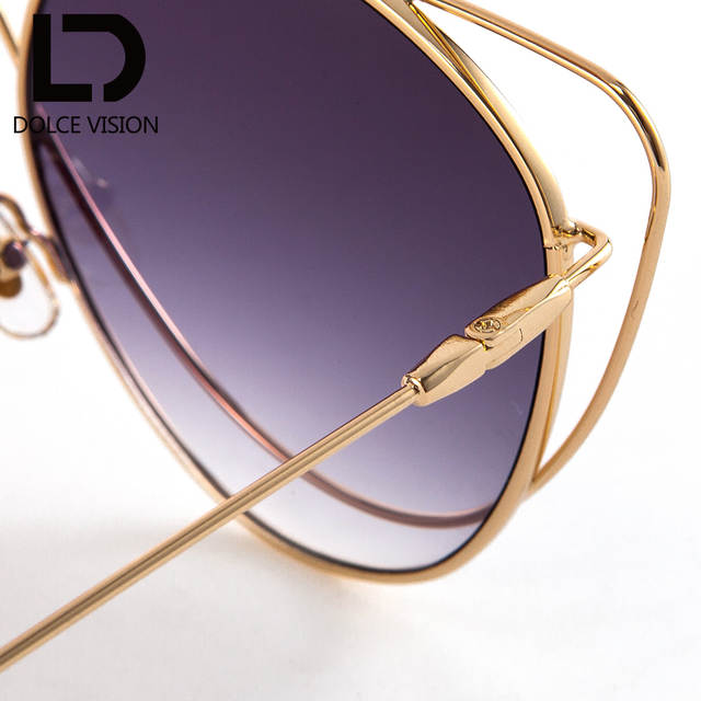 f1a78a1c253 DOLCE VISION Hollow Gold Thin Frame Ladies Sunglasses Gradient Lens Vintage  Trending Glasses Eyewear UV400 Women
