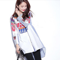 2017 New Design Fashion Women Strip Blouse Plus Size Knitted Patchwork Women S Asymmetrical Striped Shirt