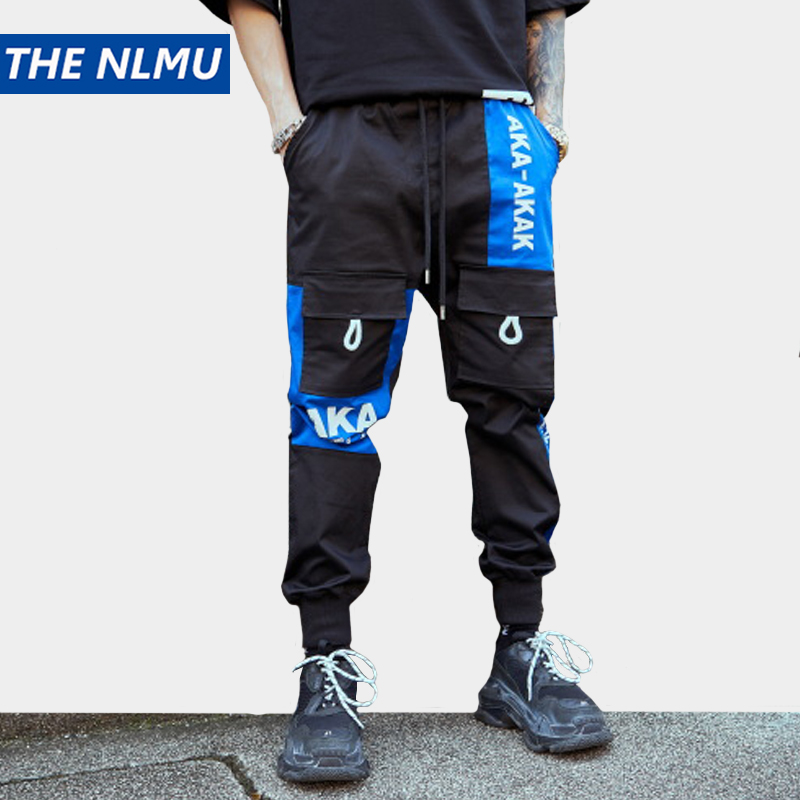 Hip Hop Patchwork crayon pantalon hommes Joggers pantalon Streetwear hommes 2019 mode hommes taille élastique Patchwork pantalon coton WB77-in Maigre Pantalon from Vêtements homme on AliExpress - 11.11_Double 11_Singles' Day 1