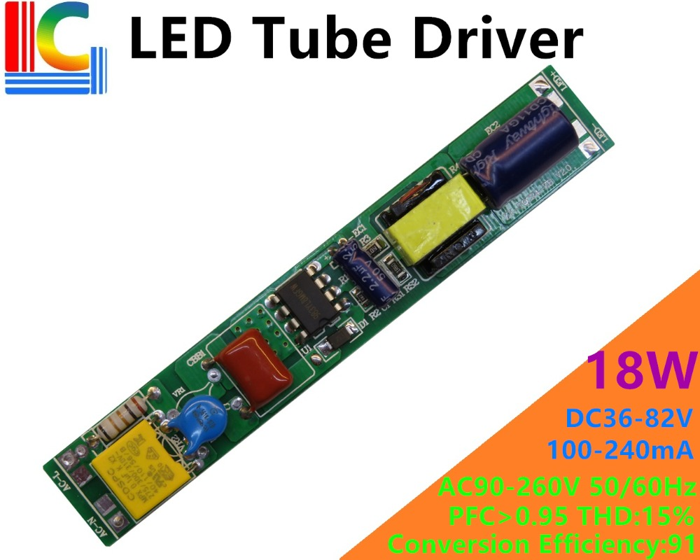 1PCs NON Isolation Constant-current High PF 9W 12W 16W 18W LED Tube Driver 110V 220V Input For 0.6M 0.9M 1.2M T5 T8 T10 LED Tube