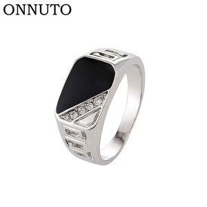 Мужское кольцо на палец, золотистое, черное, эмалированное, хорошее качество, размер 7-12