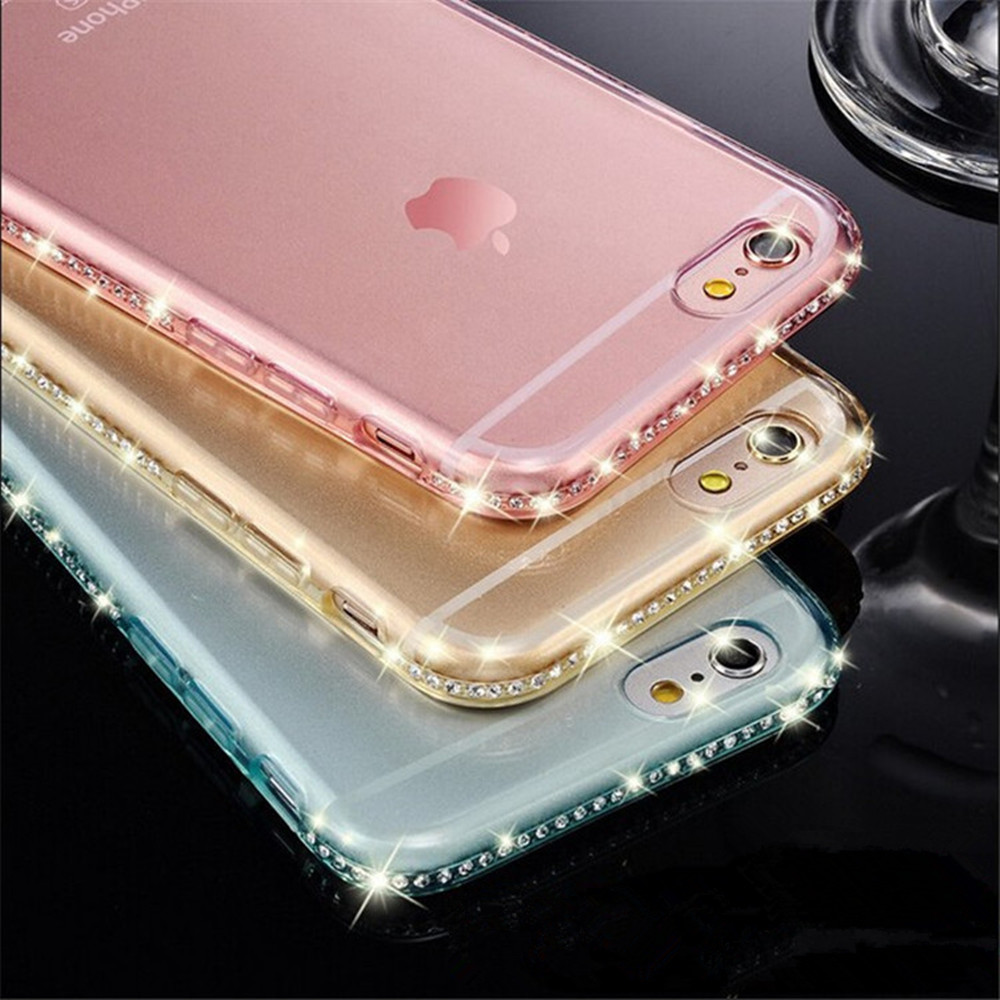 Luxury Ultra Thin Crystal Diamond Bling Gel Transparent Phone Case Cover for iPhone 5 5S 6 6S 7 7 Plus Back Cover Case Shell