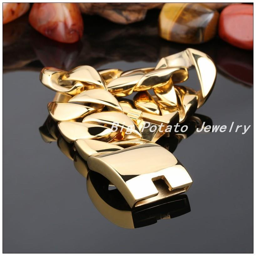 22/24cm*32mm Top Design 316L Stainless Steel Gold Curb Cuban Chain ...