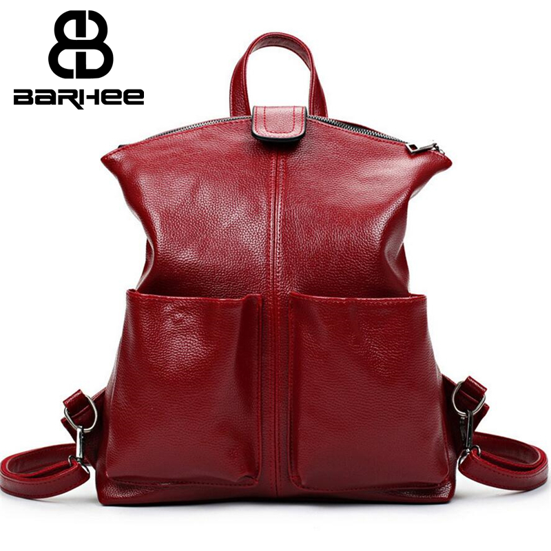 Women Backpack High Quality Leather Sac A Main School Bags For Teenagers Girls Top Handle Large