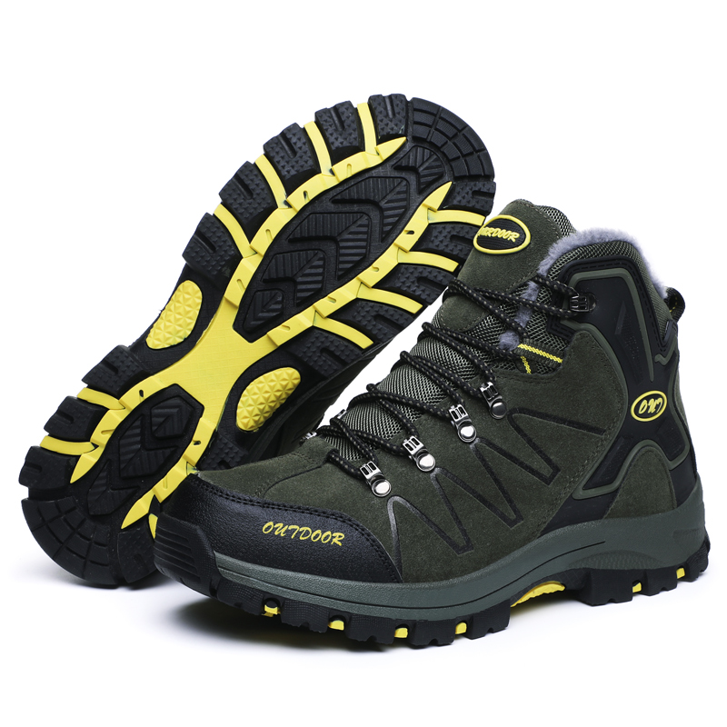 Купить с кэшбэком Men's Plus Velvet Hiking Boots High Top Warm Winter Sneakers For Men Outdoor Anti-Skid Wearable Trekking Climbing Mountain Shoes