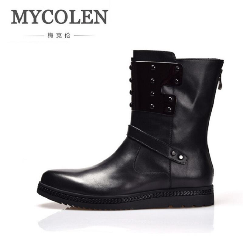 MYCOLEN Martin Boots Fashion Men Motorcycle Boots Handmade Leather High Top Shoes British Style Round Toe Men Boots Bottine fall trendboots in europe and america heavy bottomed martin boots british style high top shoes shoes boots sneakers
