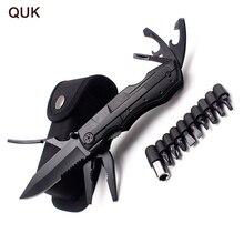 QUK pense Multitool katlanır cep EDC kamp açık Survival avcılık tornavida takımı uçları bıçak şişe açacağı el aletleri