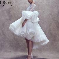 2019 New Unique High Low Cocktail Dresses White Off The Shoulder Short Prom Dress Puffy Ruffles Sleeves Formal Party Gowns