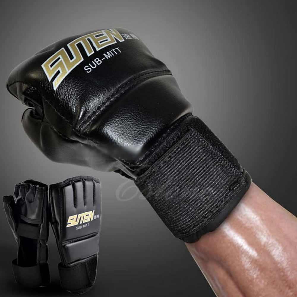قفازات رجالي سوداء قفازات الملاكمة التايلاندية نصف قفازات قفازات الصالة الرياضية MMA W715