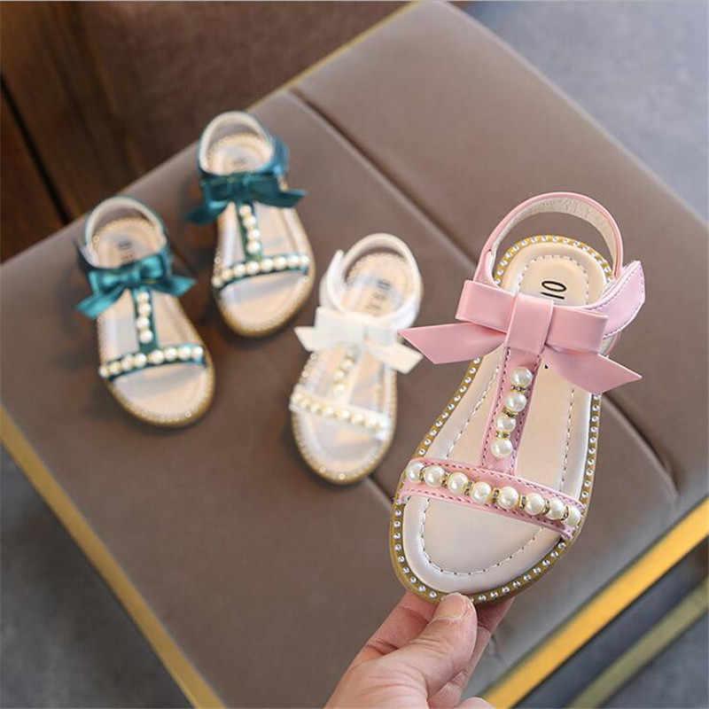 65f27ef1a4 summer girls princess Shoes Toddler Girl shoes glitter kids girls sandals  Bowknot Crystal pearl roman sandals
