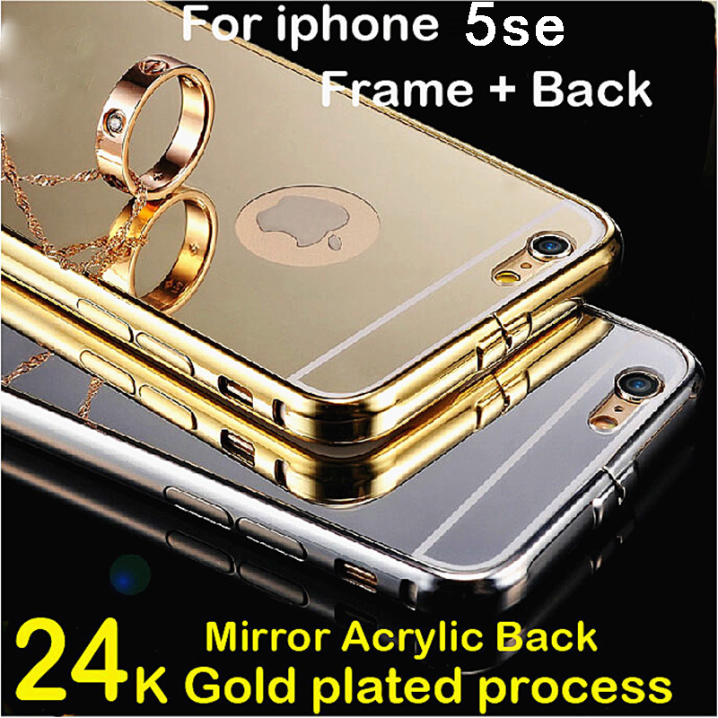 Luxury gold case for iphone5se aluminum metal frame mirror hybrid back cover for apple iphone 5 se 5se brand mobile phone cases