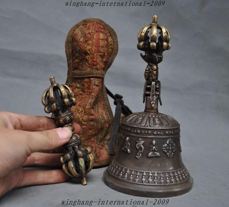 Artigianato statua Tibet Tempio bronzo Otto tesori Buddha campana Ghanta Phurpa Vajra Dorje Set di halloween
