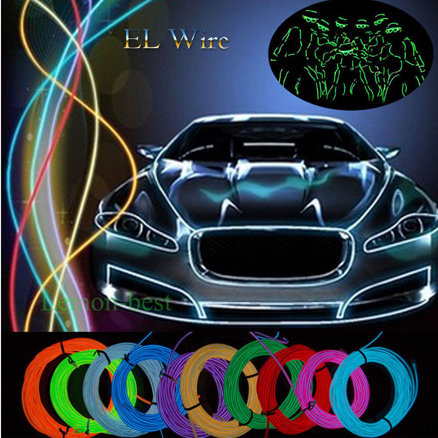Invert color jpg online - 3m Cool 10 Colors Led El Wire Tube Rope Flexible Neon Glow Car Party Decor Light