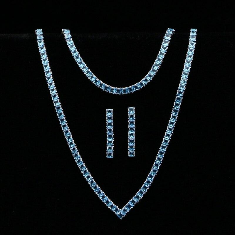 Himmel Blau Zirkonia Silber Farbe Schmuck Sets Für Frauen Hochzeit Armband Anhänger Ohrringe Halskette Braut Schmuck Sets Schmuck & Zubehör