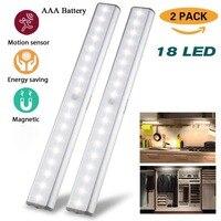 Motion Sensor LED Night Light 18 LED Lumen Wireless Lamp Cabinet Lights Kitchen Wardrobe Emergency Lighting Motion AAA Battery 2