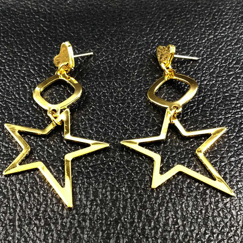 2019 New Fashion Long Stainless Steel Stud Earrings Women Star Gold Color Earrings Jewelry estrella pendientes largos E612528