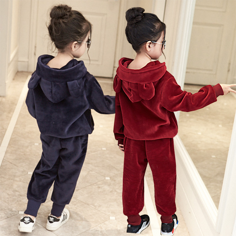 Children's clothing 2017 autumn and winter  girls plus velvet thick hooded suit two sets of infant clothes 345678Y child suit 2015 autumn and winter children set twinset clothing plus thick velvet sets kids clothes with animal