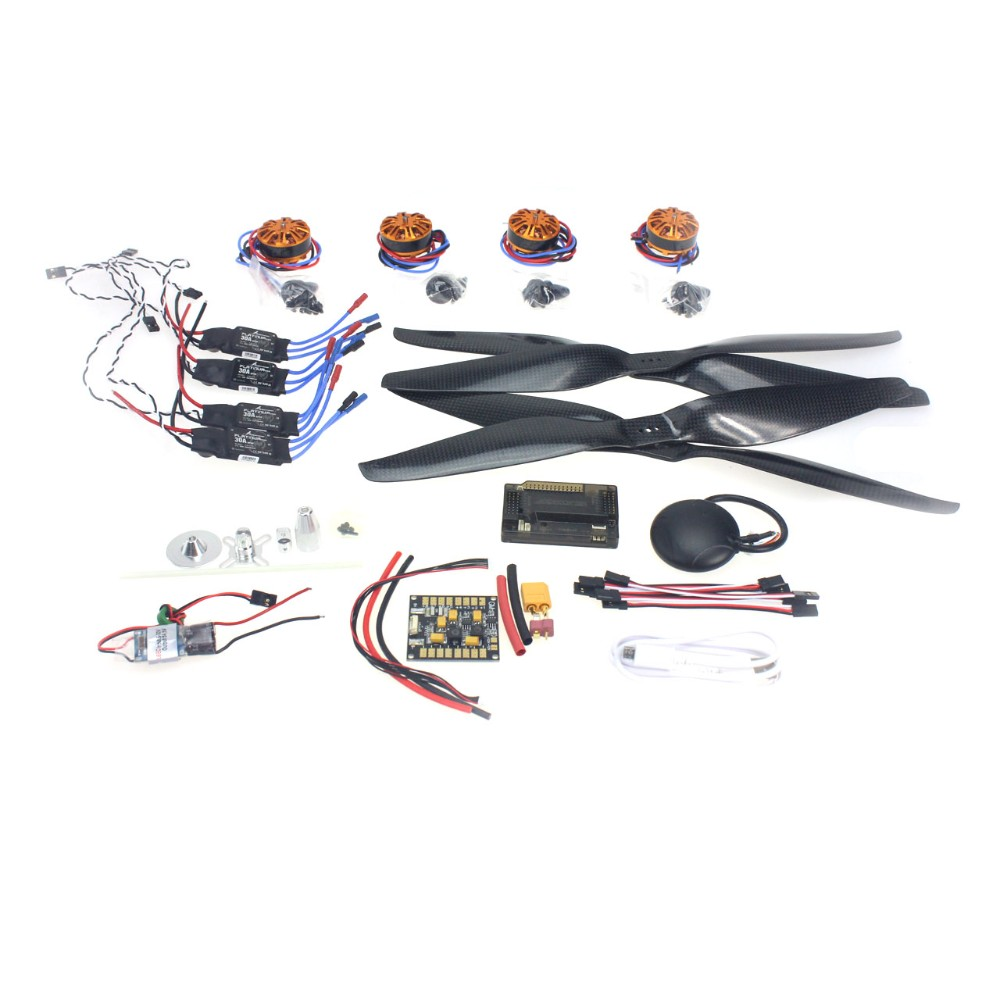 RC HexaCopter 4-axis Aircraft Electronic:700kv Brushless Motor 30A ESC BEC 1555 Propeller GPS APM2.8 Flight Control F15276-B 30a esc bec 920kv brushless motor carbon firber propeller gps apm2 8 flight control for 4 axis diy gps drone