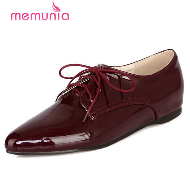 MEMUNIA Pointed toe shoes restoring fashion work shoes solid pu lace-up four seasons big size 34-46 women shoes hot sale
