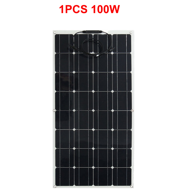 12V 100W <font><b>Solar</b></font> <font><b>Panel</b></font> <font><b>100</b></font> <font><b>Watt</b></font> Semi Flexible <font><b>Solar</b></font> <font><b>panels</b></font> <font><b>Solar</b></font> Cell Mono Caravan Camping Home Battery Charging Power image