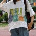 Garrafas de Impressão Soltas Camisetas Senhoras Meia Manga mulheres Verão T-shirt Feminina Plus Size Branco T-shirt Tops