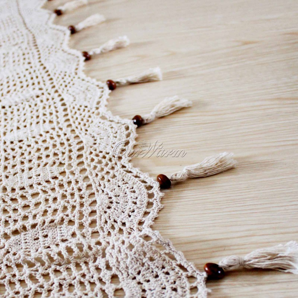 beige tab top hollow cotton linen lace crochet curtain for living