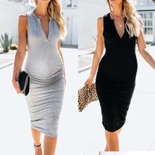 Women's Fashion maternity dresses Pregnancy Dress Casual Plain Sleeveless Pregnants Dress Comfortable Deep V-Neck Dress deep v plain swimsuit