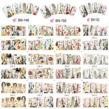 12 Sheets/Lot New 2018 Charms Sticker Nails Art Character Adhesive-self Slider Nail Decals Water ##BN145-156
