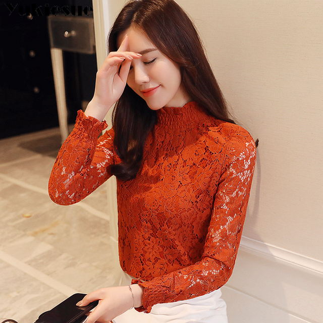 fashion woman blouses 2018 Spring summer Hollow Out Lace Women's tops Blouses Women blusas long sleeve Female shirt plus size 3