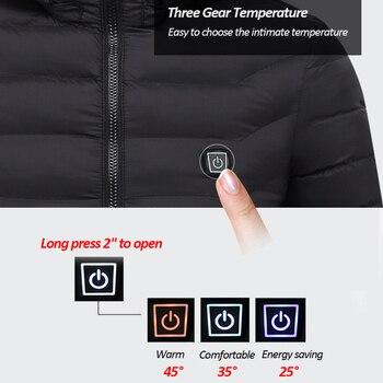 Hiver Chaud Chauffage USB Vestes Hommes Femmes Thermostat Intelligent à Capuche Vêtements Chauffants Hommes Imperméable Ski Randonnée Polaire Vestes