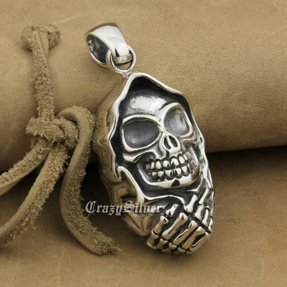 Huge 925 Sterling Silver Skull Mens Biker Rocker Punk Pendant 9V028 Just Pendant 925 sterling silver crescent moon skull mens biker rocker punk pendant 9v010 free shipping
