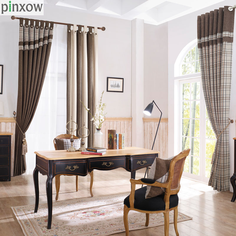 Plaid Window Curtains Drapes For Living Room Blackout