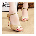 Sandálias das mulheres 2017 Sandálias Gladiador Das Mulheres Sapatos de Verão Senhoras Sandálias De Salto Alto Mulher Sandalias Mujer do Tornozelo-Envoltório de Prata de Ouro